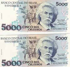 Brazil--P 232b--5000 Cruzeiros--Uncirculated--LOT OF 2--FREE SHIPPING