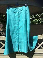 Ladies Per Una M&S Linen Jade Green Summer Tiered Skirt Size 16 VGC