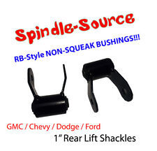 "1"" REAR Lift Shackles SET Chevy 88 - 2018 Silverado GMC Sierra RB Style Bushing"