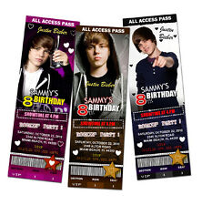 JUSTIN BIEBER BIRTHDAY PARTY INVITATION TICKET PHOTO INVITES customizable - c2