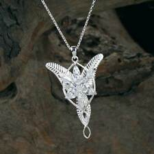 Womens Lord Of The Ring Arwen Evenstar 925 Sterling Silver Pendant Necklace