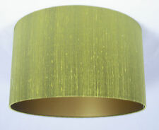 "14"" Lampshade Lime Green Silk with a Gold Lining"