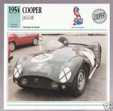 1954 Cooper Jaguar British Race Car Photo Spec Sheet Info Stat French Atlas Card