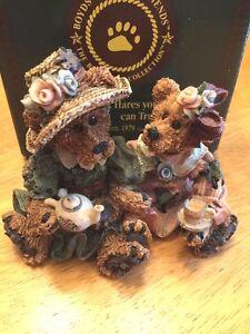 BOYDS BEAR Emma & Bailey Afternoon Tea Resin Doll TEAPOT TEACUP Antique Prim @
