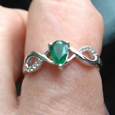 Genuine 100% Luhlaza Emerald Ring with White Zircon in Sterling Silver 0.43ct
