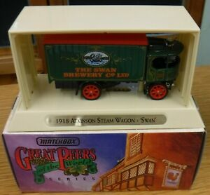 MATCHBOX M O Y GREAT BEERS OF THE WORLD - 1918 ATKINSON STEAM WAGON SWAN - YGB03