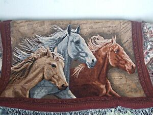Horse Tapestry Throw,3 Horses,Made in USA,100% Cotton,60x50 In.Fringed