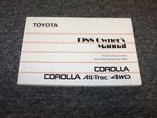 1988 Toyota Corolla Sedan Owner Owner's Operator User Guide Manual DX LE 1.6L