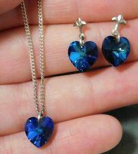 NWT Crystal Blue Aurora Borealis Heart Necklace Earrings 925 Silver Set 2a 57