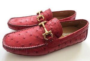 SALVATORE FERRAGAMO Coral Red Ostrich Leather Shoes Size 8.5 US 42.5 EU 7.5 UK