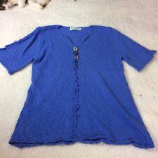 LULU-B Blue Short Sleeve Women's Sweaters Size S Beachy