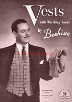 Men's Knitted Vests w/ Matching Socks Knitting Patterns Beehive Book No.64 on CD