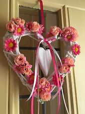 Corona de Wicker Heart Shabby Chic País CORONA DE PUERTA CORONA de rosas de seda Margaritas Rosas