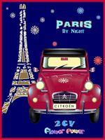 PLAQUE EN METAL EMAILLEE NEUVE 20 X 30 cm : CITROEN 2CV FLOWER POWER A PARIS
