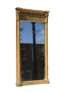 ANTIQUE 19TH C FEDERAL / CLASSICAL PERIOD CARVED & GILT ENTRY / PIER MIRROR