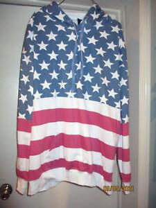 Great Patriotic Stars & Stripes Pullover Hoodie Sweatshirt Cotton Blend 2X