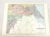 1889 Mappa Antica Di Sud Yorkshire Hull Holderness Humberside 19th Secolo