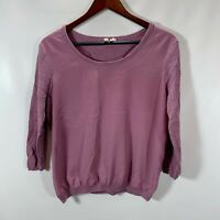 Anthropologie MOTH Crew Neck Top Womens Size M Medium Knit and Woven Purple