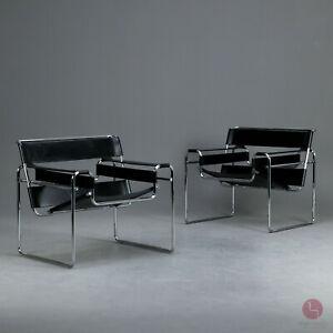 Gavina Wassily Chair B3 Bauhaus Sessel Schwarz Black Marcel Breuer Leder Lounge