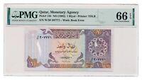 QATAR banknote 1 Riyal 1985 PMG MS 66 EPQ Gem Uncirculated