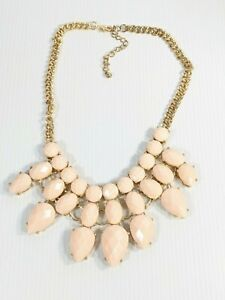 Gold Tone Peach Pink Acrylic Faceted Teardrop Cabochon Statement Necklace 20 In
