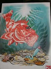 "Fishing Painting California rockfish 11""x14"""