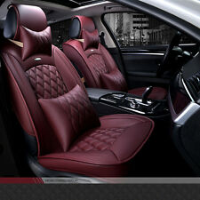 Universal Full Seat PU Leather Car Seat Cover Cushion Luxury Wine Red Color