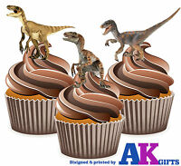 PRECUT Dinosaur Velociraptor 12 Edible Cupcake Toppers Decorations Birthday