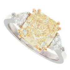 18kt Fancy Yellow SI 3.50ct Cushion Cut Diamond Engagement Ring