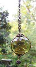 """Glass Pendant on Old Gold Tone Chain 24"""" Alloy"""