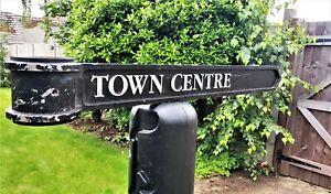 """Vintage London Signpost Cast Metal Direction Sign TOWN CENTRE Size 38""""x3.5""""x1"""""""