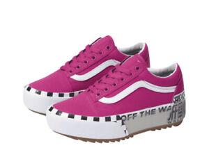 Vans W 10 /  M 8.5 - Old Skool Stacked Logo Platform Sneakers Off The Wall Pink
