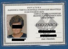 Croatia Association of Parents of dead Soldiers of the Homeland war,id card 1999