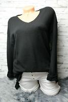Italy Pullover Pulli knit Gr. 36 38 40 42 schwarz blogger weich V-Ausschnitt NEU