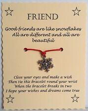 Christmas Stocking Filler Birthday Gift Friend Snowflake Wish String Bracelet