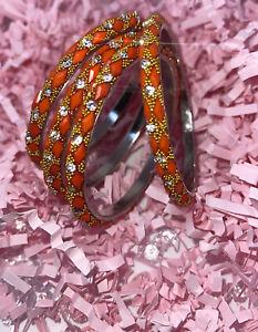 Beautiful Indian Bangles Size 2.6 Orange / gold  colour #35