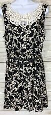 Forever 21 Black Beige Floral Lace Belted A-Line Dress Size L Fits M
