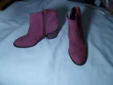 LK-Marcos Ladies Leather Ankle Bootie Fuchsia Rose Size 6M New MSRP $139.00