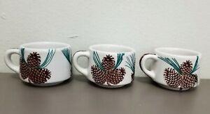Three Vintage TEPCO Restaurant Ware Pine Cone Coffee Cups