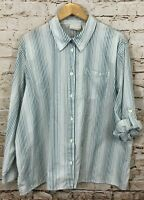 Alfred Dunner button front shirt blouse womens 24W roll tab long slv striped C3