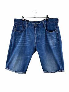 G Star RAW Denim Shorts Mens Size 40 Blue Zip Close Pockets Logo Cuffed Button