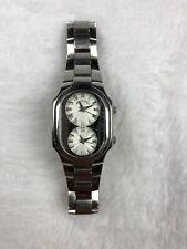 Philip Stein Signature Dual Time Watch Stainless Steel Bracelet Roman Numerals