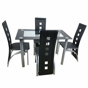 Dining Room Table Set Glass Kitchen Table and Leather Chairs Kitchen Furniture