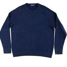 Polo Ralph Lauren 100% Merino Wool Crew Sweater Men's Blue Pullover Size XL