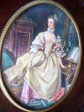 PEINTURE-Miniature-Marquise Pompadour au clavecin-d'ap. Boucher-cadre-painting