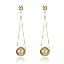 Pendulum Ball Dangle/Drop Stud Earrings 1Pair Women Gold Plated Long Chain