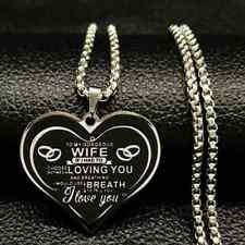 Letter Wife Stainless Steel Chain Necklace Women Black Silver Color Heart