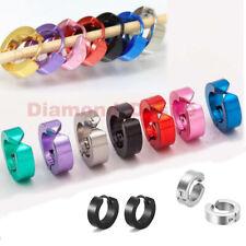 2Pcs Stainless Steel Hinged Piercing Hoop Huggie Snap Earrings Clip-On Mens Boys