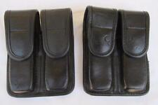 2x Bianchi Size 1 Police Double Magazine Mag Hidden Snap Pouch - Faux Leather