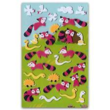 ✰ CUTE FOX & SNAKE FELT STICKERS Sheet Animal Kids Craft Scrapbook Fuzzy Sticker